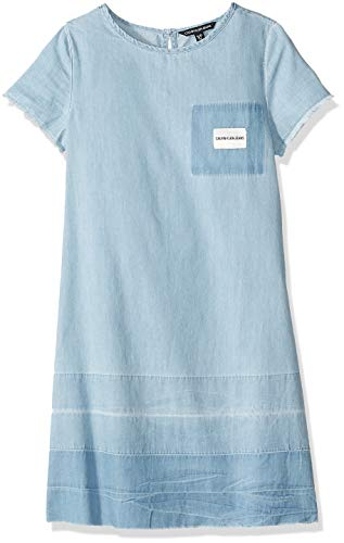 Calvin Klein Big Girls' Sleevless Denim Dress, Chambray Blue, M8/10