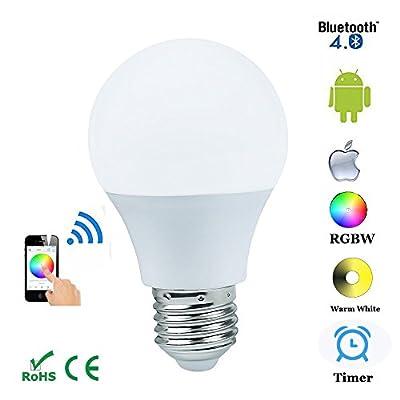 KPBOTL 4.5W E27 RGBW Led Light Bulb Bluetooth 4.0 Smart Lighting Lamp Color Change Dimmable for Home Hotel AC85-265V