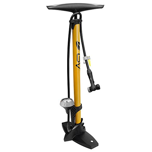 Bv Bicycle Ergonomic Bike Floor Pump With Gauge & Smart Valve Head, 160 Psi, Automatically Reversibl