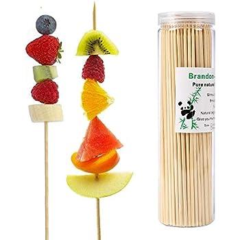Brandonsuper Bamboo Skewers 4 Inch (200 Pcs) Natural BBQ for Shish Kabob, Grill, Appetizer, Fruit, Corn, Chocolate Fountain