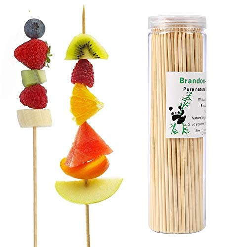 (Bamboo Skewers 6 Inch (200 Pcs) Natural BBQ for Shish Kabob, Grill, Appetizer, Fruit, Corn, Chocolate Fountain)