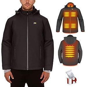 Veste chauffante électrique pour hommes/femmes, Manteau chauffant USB rechargeable avec col chauffant, Veste chaude pour…