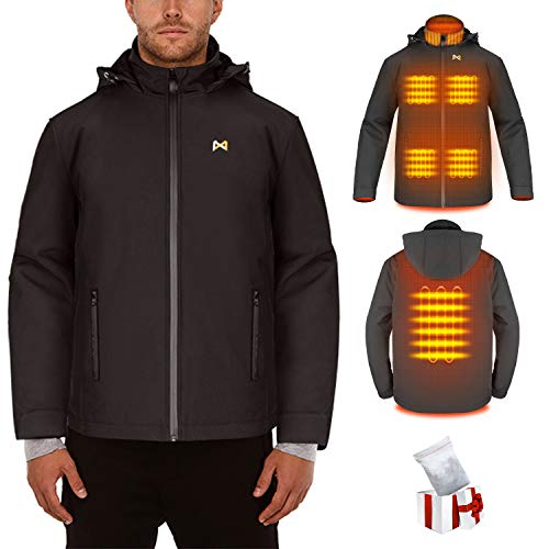 Electric Heated Jacket for Men/Women, USB Rechargeable Heating Clothes Coat with Heated Collar, Jacket with Detachable…
