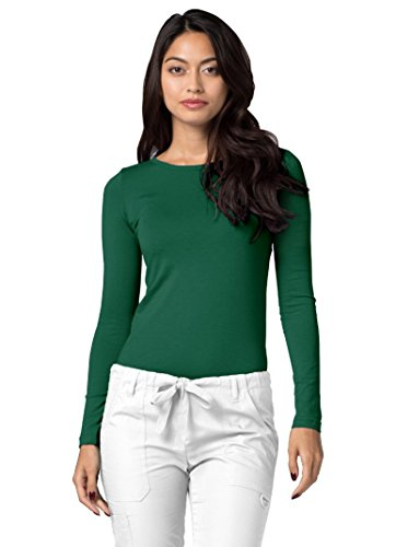Adar Womens Comfort Long Sleeve T-Shirt Underscrub Tee - 2900 - Hunter Green - (Snap Front Scrub Top Hunter)