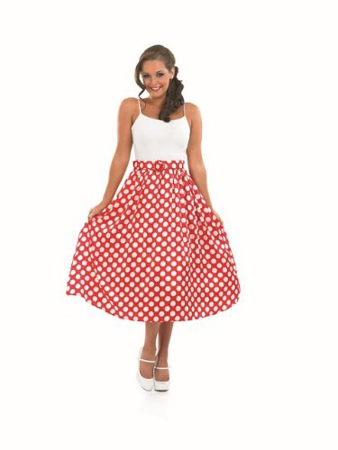 50s Rock Dress Costumes (1950s Rock & Roll Red Skirt Female Fancy Dress Costume - Size L (US 14-16))