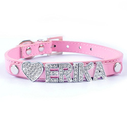 Didog Personalized Rhinestone Pet collars with Customizable Name Letters,Fit Small and Medium Dogs(Pink,S)