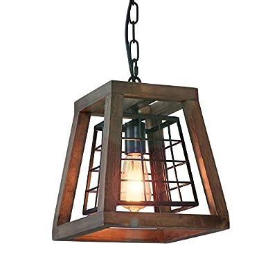 "Eumyviv 1 Light Rustic Wood Pendant Light with Cage, 9.8"" Retro Industrial Farmhouse Chandelier Vintage Edison Ceiling Island Lighting Fixture, Brown Wood & Black Metal(P0044)"
