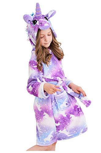 Soft Unicorn Hooded Bathrobe Sleepwear - Unicorn Gifts for Girls (2-4 Years, Unicorns Purple)