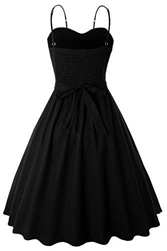 MisShow Femme Audrey Style Ceinture Robe Rockabilly Vintage en Mi Swing Coton Hepburn avec Bretelle Noir Longue rqYr54a