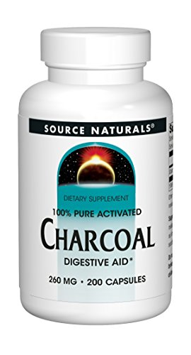 Source Naturals 100% Pure Activated Charcoal 260mg - From Coconut Shells - 200 Capsules