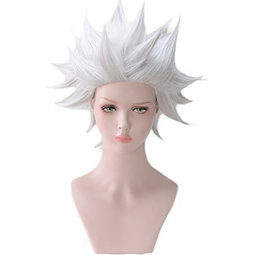magic acgn Short Layered Anime Cosplay Wig Silvery White Christmas Wig -