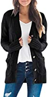 MEROKEETY Women's Long Sleeve Cable Knit Sweater Open Front Cardigan Button Loose Outerwear