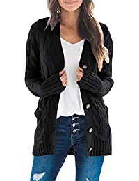 Women's Long Sleeve Cable Knit Sweater Open Front Cardigan Button Loose Outerwear