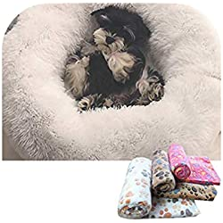 Old street Kennel Dog Round Cat Winter Warm Sleeping Bag Long Plush Super Soft Pet Bed Puppy Cushion Mat Portable Cat Supplies 46/50/60Cm,Add1Blanket Randomly,60Cm