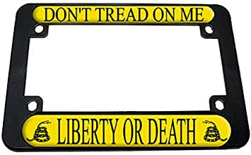 "Don/'t Tread On Me Flag /""Liberty or Death/"" Chrome License Plate Frame"