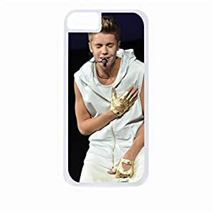 Justin Beiber - Singing - Hard White Plastic Snap - On Case with Soft Black Rubber Lining-Apple Iphone 4 - 4s - Great Quality!