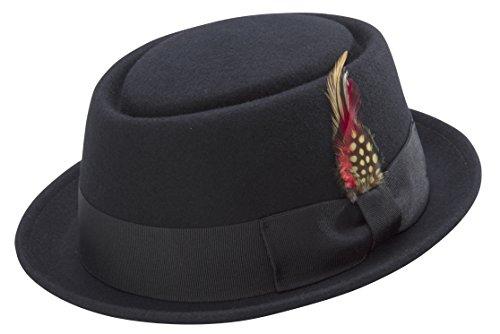 Montique Men's stingy Brim Pork Pie Hat - Wool Felt - X-Large, Black - Teardrop Dent - Coordinating Grosgrain Ribbon and Feather Accent - (Wool Felt Pork Pie Hat)