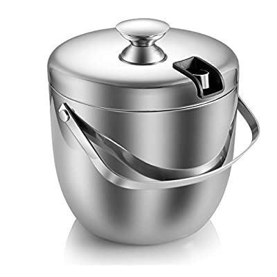 Ice Bucket, Stainless Steel Double Wall and Insulated Ice Buckets with Lid and Tongs-3L