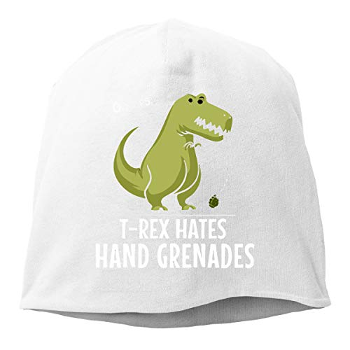 Men's and Women's Classic Knitted Hat, T-Rex Hates Hand Grenades Beanie Hat for Mens & Womens ()