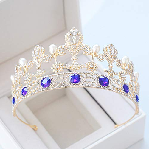 Wedding Fine Jewelry Crown Tiara Diadem Headdress Hair Hoop Earrings With Blue Vintage Bride Bridesmaid Xy384 Baroque Pearl Engagement Hair Accessories