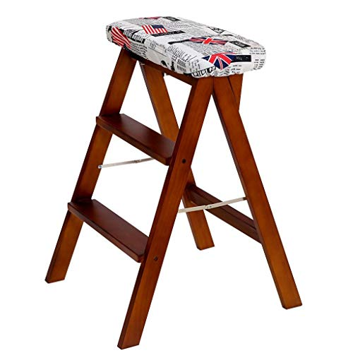 Ladder Racks Step Stool Kitchen Foot Stool Household Folding Ladder Indoor Ascending Ladder Bar High Chair Dressing Table Stool Balcony Leisure Parlor Chair ( Color : Brown , Size : 424963cm )