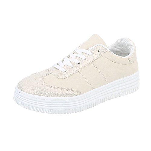 Ital-Design Sneakers Low Damenschuhe Sneakers Low Sneakers Schnürsenkel Freizeitschuhe Beige Gold R-223