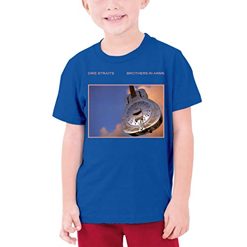 Youth T Shirts Dire Straits Brothers in Arms Round Neck Funny Short Sleeve Cotton Tee Unisex Blue M