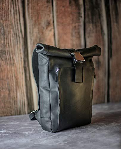 Rucksack rolltop, Leather backpack men, Roll top backpack with airplane buckle, Laptop bag women, Lederrucksack herren (Herren Hipster)