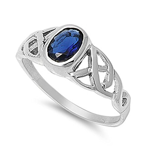 Sapphire Celtic Bands (Blue Simulated Sapphire Celtic Knot Criss Cross Ring Sterling Silver Band Size 8)