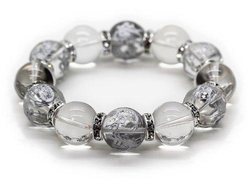 石輝 天然石水晶16mm銀彫り四神獣水晶16mm数珠ブレスレット 金運仕事運財運[b329] B00I8F0ORS