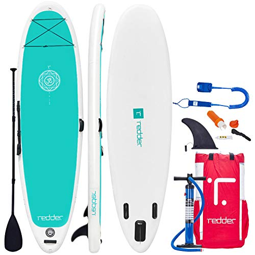 redder Inflatable Stand Up Paddle Board (4.75 Inches Thick) Vortex Universal SUP All Round | Bottom Fin for Paddling and Surf Control | Non-Slip Deck | Youth and Adult 8'8'