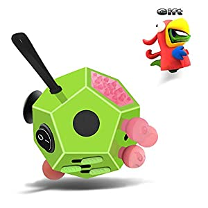 Minilopa Fidget Dodecagon –12 Side Fidget Toy Cube Relieves Stress and Anxiety Anti Depression Cube for Children and Adults with ADHD ADD OCD Autism (A3 Green Pink)