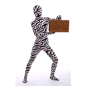 - 41Zh5HrNlAL - Halloween Cosplay Full Bodysuit Animal Pretend Play Zebra Dress Up Zentai Costume
