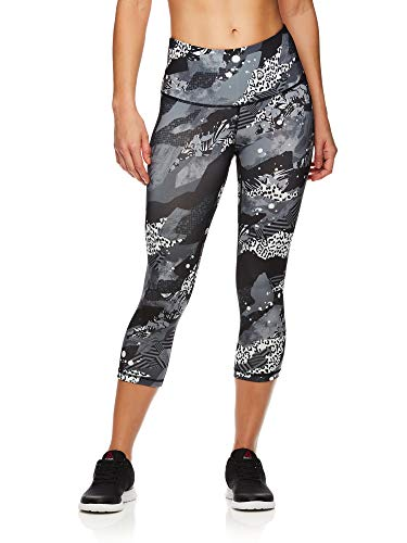 Reebok Women's Capri Workout Leggings w/High-Rise Waist - Cropped Performance Compression Tights - Printed Highrise Medium Grey, Medium (Best Compression Pants For Crossfit)