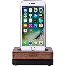 SAMDI iPhone Charging Dock Station Wood Phone Stand Desktop Holder Mount with Aluminum Alloy Base for iPhone4/5/5s/6/6s and more(Black+Brown)