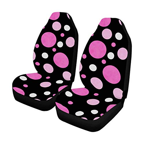 INTERESTPRINT Pink White and Black Polka Dot Car Seat Cover Front Seats Only Full Set of 2, Universal fit for Vehicles, Sedan and Jeep