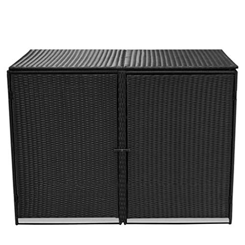 Rattan Double Wheelie Bin Shed Shelter Hider Cover, Black