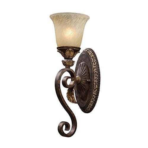 Elk 2150/1 Regency 1-Light 6-Inch Width by 18-Inch Height Wall Sconce In Burnt Bronze (Sconce Burnt Leaf Gold)