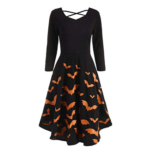 Halloween Bat Cat Pumpkins Print Flare Dress,Connia Casual