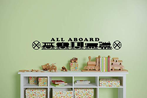 (All Aboard Kids room Railroad wall decal Train room model railroader )
