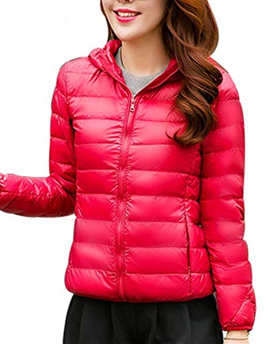 Lightweight Coat Puffer Jacket Down Women's Ultra Rose Packable Outdoor Hooded ZiXing Warm AqwZU6xWR
