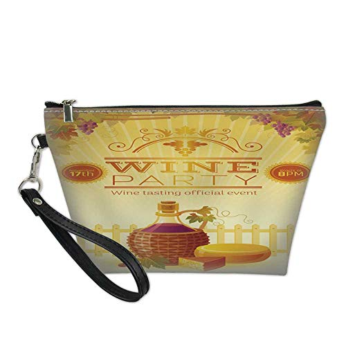 Vineyard Harvest (makeup bag pouchcosmetic carrying bagWine party fall harvest festival poster Vineyard autumn vector illustration 8.5