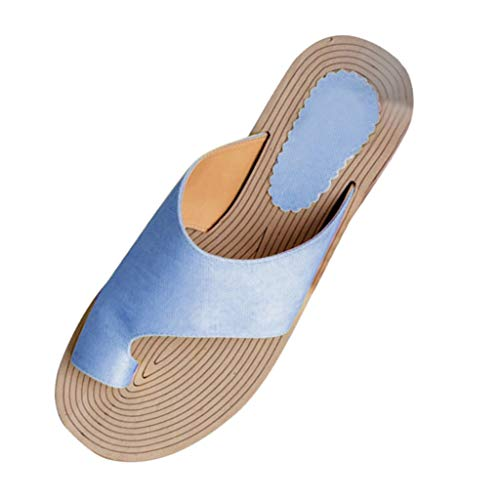 St.Dona_Shoes Women's Flats Wedges Platform Sandals Comfy Open Toe Beach Travel Shoes Heel Massage Soft Bottom Non-Slip Blue
