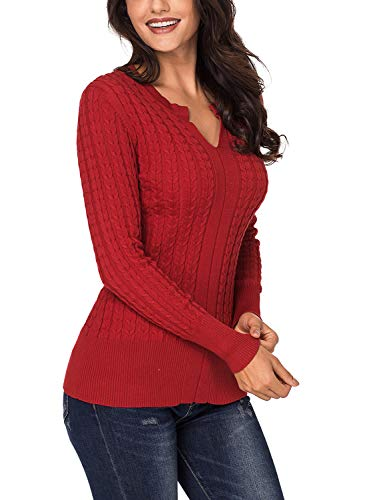 Azokoe 2018 Knit for Women Winter Ribbed Solid Cable Knit Classic Long Sleeve V Neck Knitted Pullover Jumper Basic Sweaters Fitted Top Red M Size 6 8 by Azokoe (Image #1)