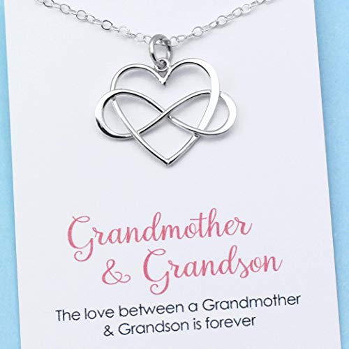 Gift for Grandma • Personalized Grandmother & Grandson Necklace • Infinity Heart Pendant • Sterling Silver • Infinite Love • Jewelry with Meaning