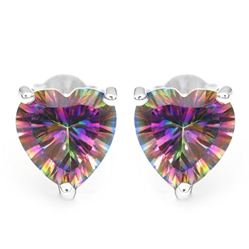 Jewelrypalace Womens Heart Concave Cut Mystic Topaz 925 Sterling Silver Earrings Stud