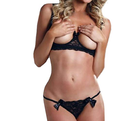 - XILALU Fashion Women Open Cup Lace Sexy Lingerie Top Bra+Pants Set Bowknot G-String Underwear Bodysuit Plus Size (2XL, Black)