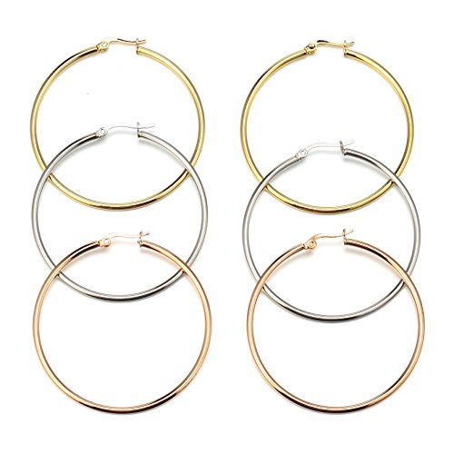 Mocalady Jewelers Womens Hoop Earrings Stainless Steel Kids Jewelry Ear Loop 60 MM (Hoops Gold 60 Mm)