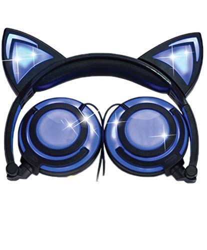 Cat Ear Headphones w/Rechargeable LED Lights - Newest 2019 Version Over Ear Headphones for Girls & Boys, Compatible for iPad, Android & Others, Lights Up Cat Ears & Speakers (black) [並行輸入品] B07RNK89T3