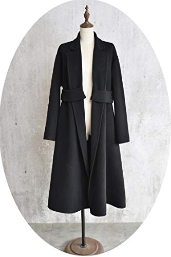 Women Winter Coat Double Faced Wool Coat Women Woolen Overcoat Long Sleeve Ladies Coats,Black,L Double Faced Wool Fabric